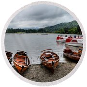 Ambleside Boats Round Beach Towel