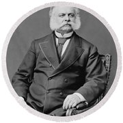 Ambrose Burnside And His Sideburns Round Beach Towel