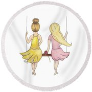 Amelia And Lillian Round Beach Towel