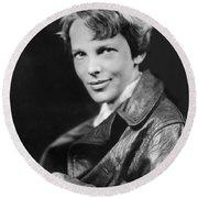 Amelia Earhart Circa 1932 Round Beach Towel