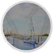 Round Beach Towel featuring the painting Amelia Island Port by AnnaJo Vahle