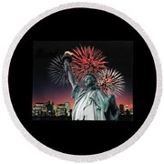 America The Beautiful  Round Beach Towel by Herb Strobino
