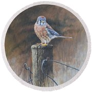 Round Beach Towel featuring the painting American Kestrel by Alan M Hunt