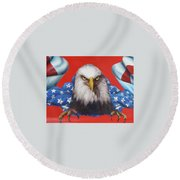 Round Beach Towel featuring the painting America Patriot  by Alan Johnson