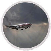American Aircraft Landing After The Rain. Miami. Fl. Usa Round Beach Towel