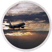 American Aircraft Landing At The Twilight. Miami. Fl. Usa Round Beach Towel