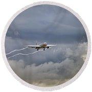 American Aircraft Landing Round Beach Towel