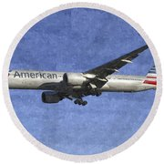 American Airlines Boeing 777 Aircraft Art Round Beach Towel