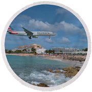 American Airlines Landing At St. Maarten Airport Round Beach Towel by David Gleeson