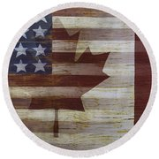 American And Canadian Flag Round Beach Towel