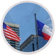 American And Texas Flag On Top Of The Pole Round Beach Towel