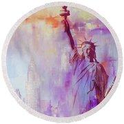 American Art Statue Of Liberty Round Beach Towel