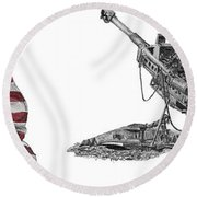 Round Beach Towel featuring the drawing American Artillery by Betsy Hackett