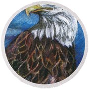 American Bald Eagle Round Beach Towel by John Keaton