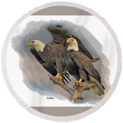 American Bald Eagle Pair Round Beach Towel