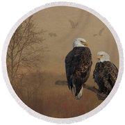 American Bald Eagle Family Round Beach Towel