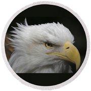 Round Beach Towel featuring the digital art American Bald Eagle Portrait by Ernie Echols