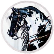 American Black And White Paint  Round Beach Towel by Cheryl Poland