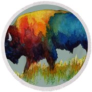 Round Beach Towel featuring the painting American Buffalo IIi by Hailey E Herrera