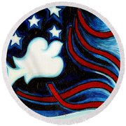 Round Beach Towel featuring the painting American Dove by Genevieve Esson