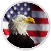 American Eagle Round Beach Towel by David Lee Thompson