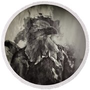 American Eagle Monochrome Round Beach Towel by Jack Torcello
