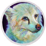 Round Beach Towel featuring the painting American Eskimo by Robert Phelps