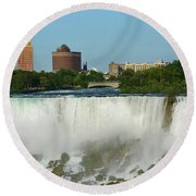American Falls With Bridal Veil Round Beach Towel