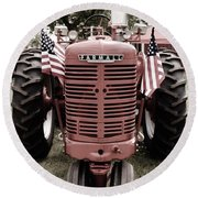 Round Beach Towel featuring the photograph American Farmall Head On by Meagan  Visser