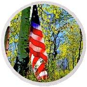 American Flag A Veteran Hunters Homage Round Beach Towel