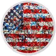 Round Beach Towel featuring the painting American Flag Abstract With Trees by Genevieve Esson