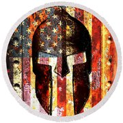 American Flag And Spartan Helmet On Rusted Metal Door - Molon Labe Round Beach Towel