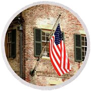 American Flag In Colonial Williamsburg Round Beach Towel by Emanuel Tanjala