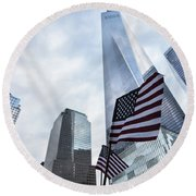American Flag In Front Of The One World World Trade Center Round Beach Towel