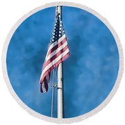 American Flag 'painted' Round Beach Towel
