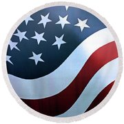 Round Beach Towel featuring the photograph American Flag by Kristin Elmquist