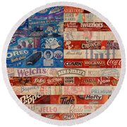 American Flag - Made From Vintage Recycled Pop Culture Usa Paper Product Wrappers Round Beach Towel