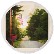 American Flag On A Country Road Round Beach Towel