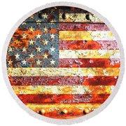 American Flag On Rusted Riveted Metal Door Round Beach Towel by M L C