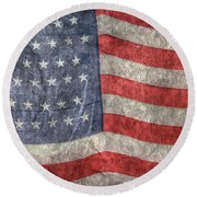 American Flag Round Beach Towel by Randy Steele