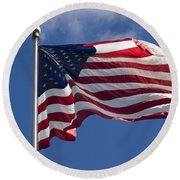 Round Beach Towel featuring the photograph American Flag by Tara Lynn