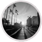 American Flags Detroit Black And White  Round Beach Towel