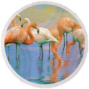 American Flamingos Round Beach Towel