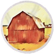 Round Beach Towel featuring the painting American Gothic Red Barn by Dan Sproul