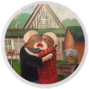 American Gothic The Monkey Lisa And The Holler Round Beach Towel