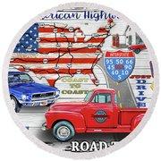 American Highways-coast To Coast Round Beach Towel