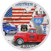American Highways-route 66 Round Beach Towel