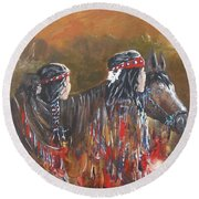American Indians Family Round Beach Towel