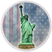 American Liberty Round Beach Towel by Timothy Lowry
