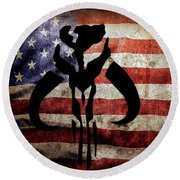 Round Beach Towel featuring the digital art American Mandalorian by Justin Moore